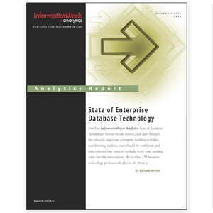 State of Database Technology  2010 Information Week Analytics - Richard Winter - cover image