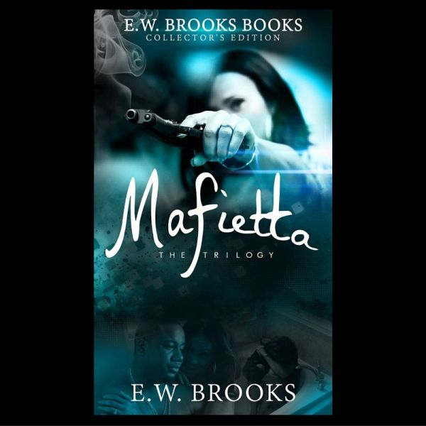 Video Vixen Deelishis holding a gun with rapper Murda Mook on book cover of E.W. Brooks' Mafietta