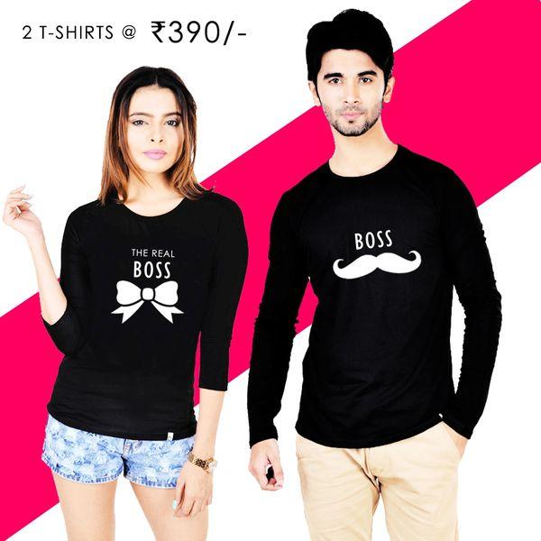a8e1de005 BOSS Couple T-shirt Black Full Sleeves | Online T-shirt Fashion ...