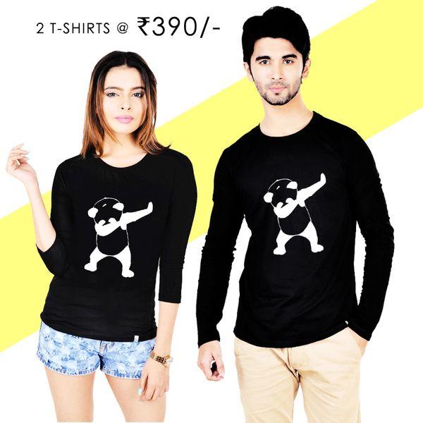 2f33cf359c1e11 Pre-Book Dab Panda Couple T-shirt Black Full Sleeves | Online T ...
