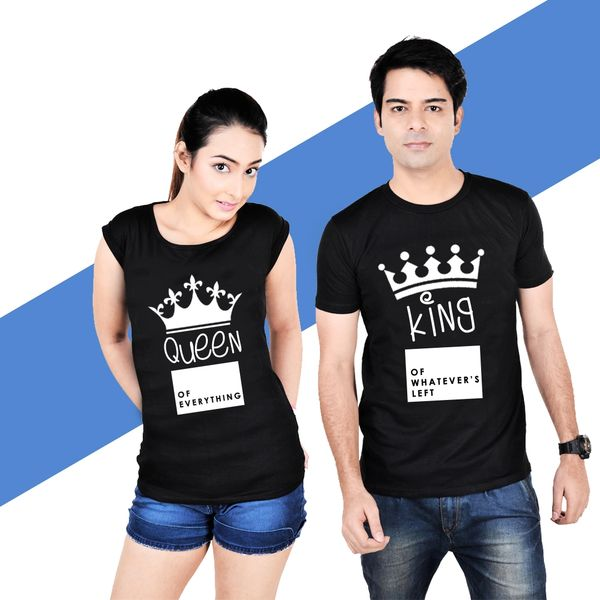 d3e486928 Pre-book King Queen Couple T-shirt Black HALF Sleeves