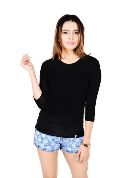 14b617887 BOOTEES SOLID T-SHIRT | BLACK | WOMEN | FULL SLEEVES | Online T ...