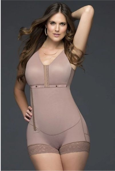 All Embracing Short Body Shaper with bra and Sided Zipper