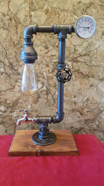 Industrial Retro Edison with tempurature gauge, on/off valve and stainless steel spigot