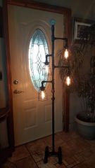 Black Industrial Retro Edison Floor Lamp with on/off valve switch