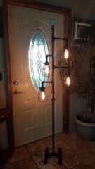 Black Industrial Retro Edison Floor Lamp with on/off valve switch