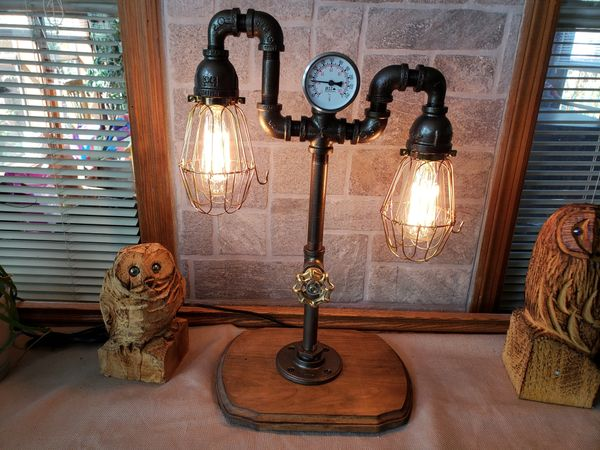 Industrial 2 bulb Tiered Industrial Pipe Lamp with Cages