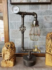 Industrial Retro Lamp on metal base with valve on/off
