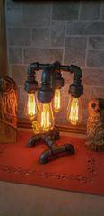 Industrial 4 bulb teardrop Industrial Pipe Lamp with edison bulbs on metal