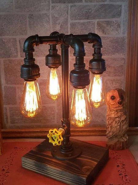 Industrial 4 bulb teardrop Industrial Pipe Lamp with edison bulbs