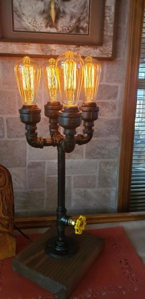 Industrial 4 bulb teardrop up Industrial Pipe Lamp with edison bulbs on metal