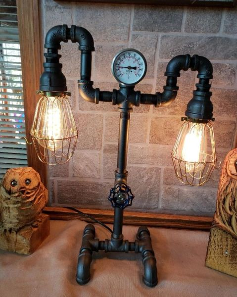 2 Tiered Edison on metal base with Valve on/off switch