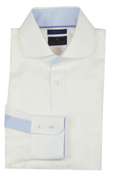 """Patriot One"" master class white textured shirt with light blue accents"