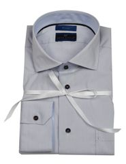 """Ronin One"" stretch light grey micro plaid shirt"