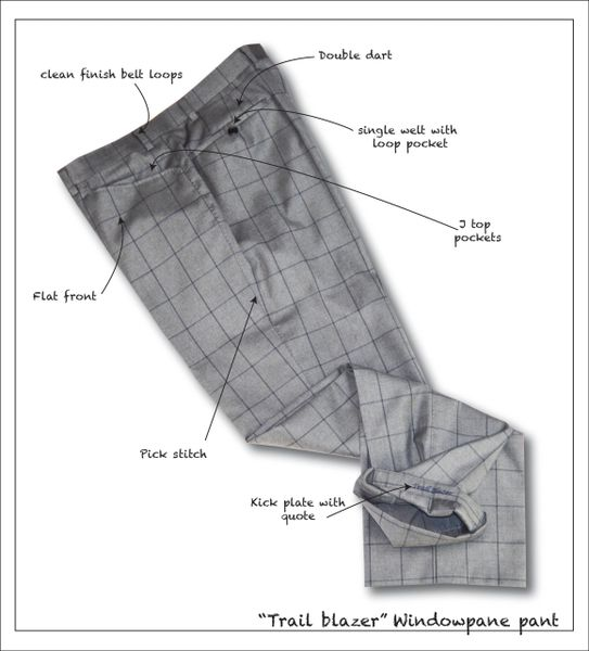 Trail Blazer Flat Front Heather Grey Window Pane Pant