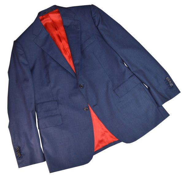 "Handmade hand tailored ""Patriot"" Navy sharkskin Sport Coat"