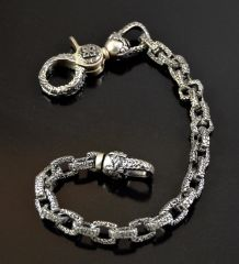 """Caribbean Clasp and Wallet Chain"" Sterling Silver .925 Wallet Chain with Lobster Clasp MADE IN U.S.A."