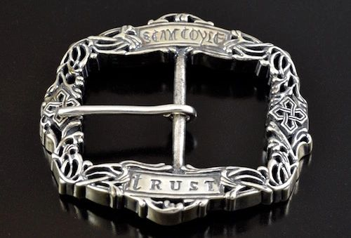 """LUCIA"" Carved Sterling Silver Belt Buckle MADE in U.S.A."