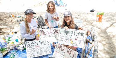 Ocean Ramsey and friends helping at a reef and beach clean up on the west side of Oahu.