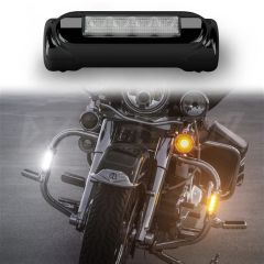 Black Motorcycle Highway Bar Switchback Driving Lights DRL Turnsignal