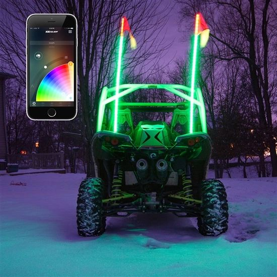 2x whip XKchrome Advanced App Control LED Whip Light Kit for 4x4 Offroad UTV ATV