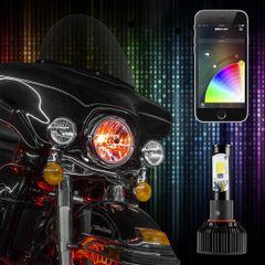 1pc 2 in 1 LED Headlight Bulb Motorcycle Kit - XKchrome Smartphone App-enabled Bluetooth RGB Demon Eye + LED Headlight Conversion