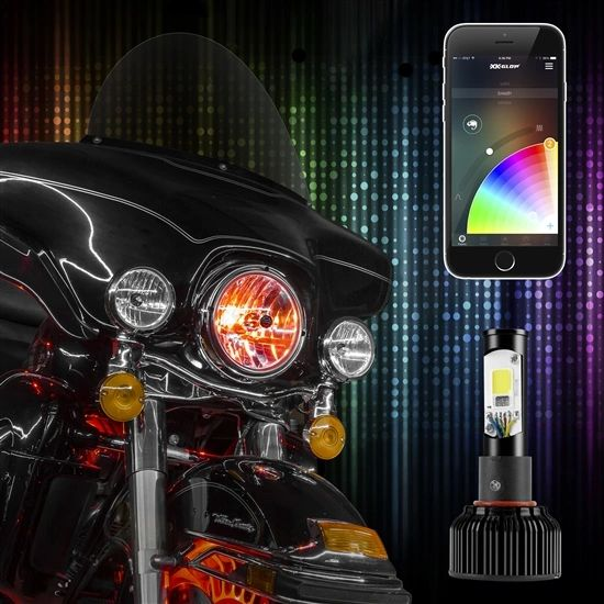 1pc 2 in 1 LED Headlight Bulb Motorcycle Kit - XKchrome Smartphone App-enabled Bluetooth RGB Demon Eye + LED Headlight Conversion