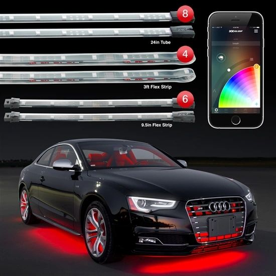 "8pc 24"" Under Glow Tube + 6pc 10"" Interior Strips Interior + 4pc 3ft Wheel Light XKchrome App Control Car LED Accent Light Kit"