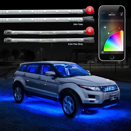 "XK Glow 8pc 24"" Under Glow + 6pc 10"" Flexible Strip XKchrome App Control Car LED Accent Light Kit"