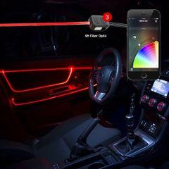 6ft Fiber Optic Roll 3pc LED Head XKchrome App Controlled Fiber Optic LED Accent Light Kit