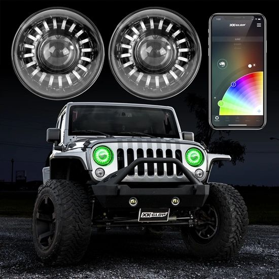 "2pc 7"" RGB LED Jeep Headlight XKchrome Bluetooth App Controlled Kit w/ Switchback Feature"