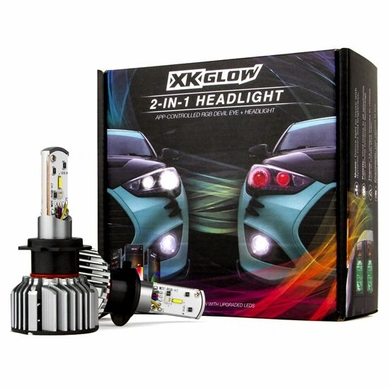2nd Gen 2 in 1 LED Headlight Bulb Kit - XKchrome Smartphone App-enabled Bluetooth RGB Devil Eye + LED Headlight