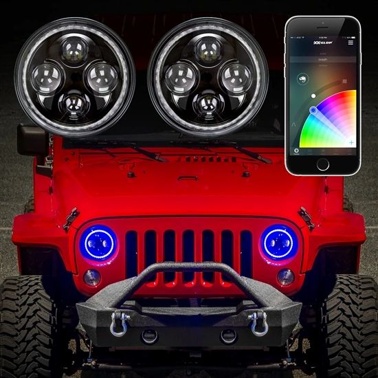 "2pc 7"" Jeep RGB Halo LED Headlight Kit with XKchrome Smartphone App-enabled Bluetooth Jeep JK TJ"