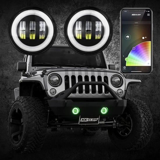4in RGB XKchrome Jeep Wrangler JK LED App controlled Fog Light 2pc Kit with Switchback Halo White DRL + Amber Turn Signal