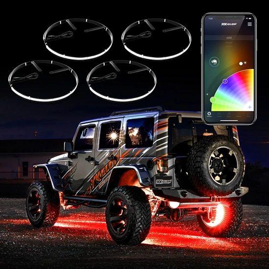"4pc 15"" Wheel Ring Light Kit XKchrome App controlled w/ Turn Signal Function"