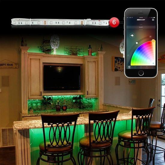 6pc 3ft Slim Strip Home Office XKchrome App Control Interior LED Accent Light Kit