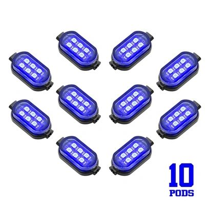 10 Pod 60 LED Single Color LED Underglow Kit for Motorcycle or ATV