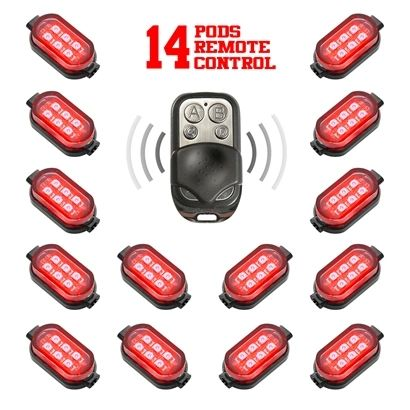 14 Pod 84 LED Single Color LED remote controlled Underglow Kit for Motorcycle or ATV