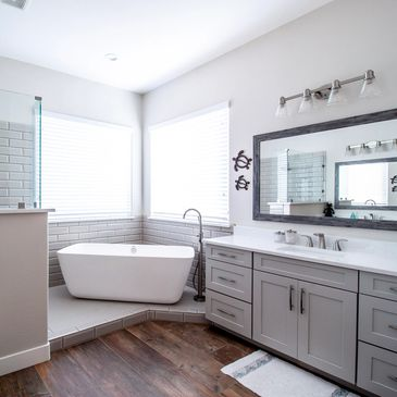 white and gray bathroom remodel in scottsdale