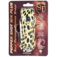 PEPPER SHOT 1/2 oz. FASHION LEATHERETTE HOLSTER with Quick Release Key Chain in Cheetah print Black and Yellow.