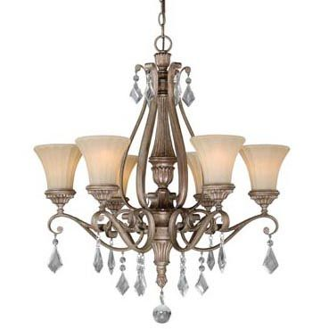 6 Light Chandelier/Crystals Medium base bulbs