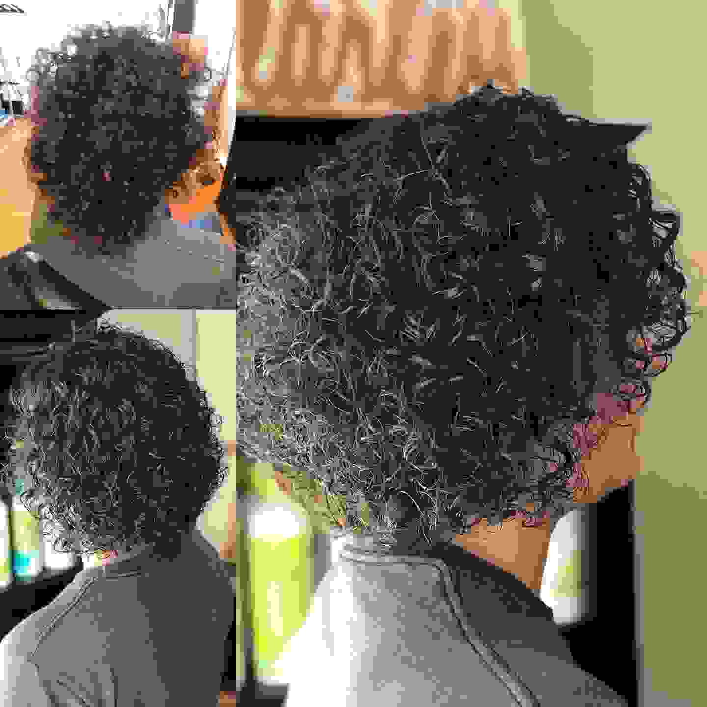 Perfect before and after pictures of the Deva cut.