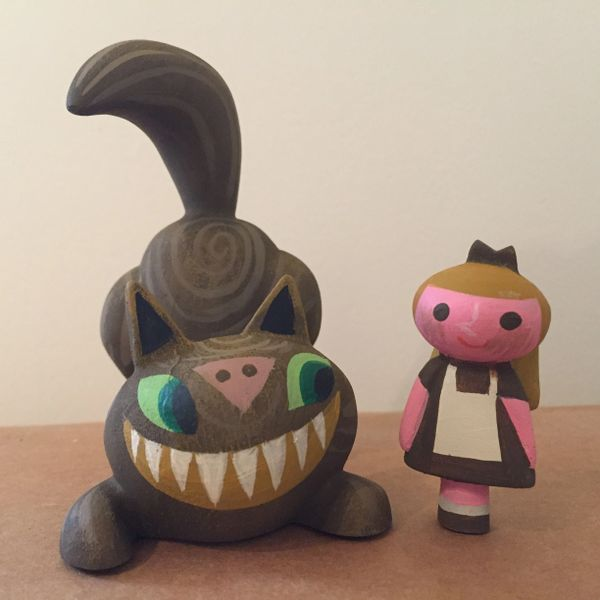 Wood Chip Cheshire Cat and Alice