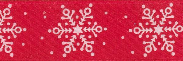 Celebrate It Ribbon 5/8 Inch Red & White Snowflake Satin Ribbon