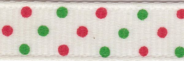 Celebrate It Ribbon 3/8 Inch Red & Green Dot Grosgrain Ribbon