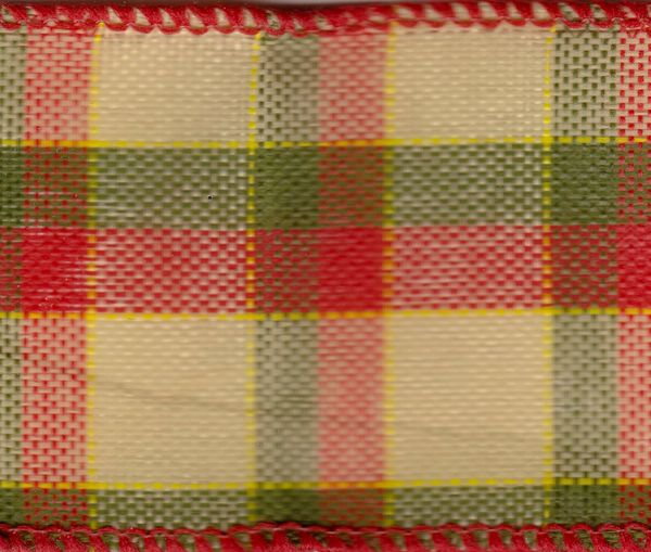 Celebrate It Ribbon 1.5 Inch Red & Green Plaid Wired Edge Ribbon