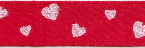 Celebrate It Ribbon 3/8 Inch White Glitter Hearts Satin Ribbon