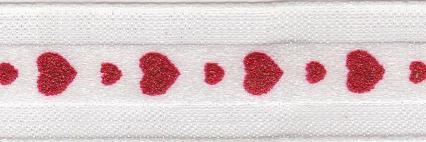 Celebrate It Ribbon 5/8 Inch Red Glitter Hearts Sheer Satin Ribbon
