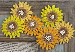 Prima Flowers Mulberry Paper Amber (Petite Mums Collection)