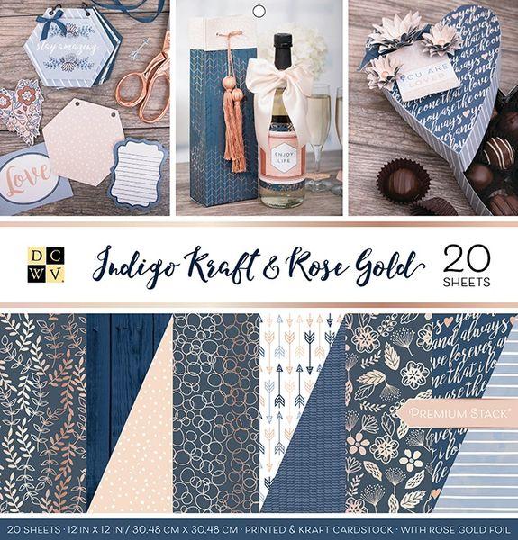 DCWV Indigo Kraft & Rose Gold Stack